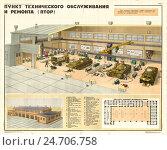 Купить «Плакат: Пункт технического обслуживания и ремонта (ПТОР)», иллюстрация № 24706758 (c) Артем Сеттаров / Фотобанк Лори