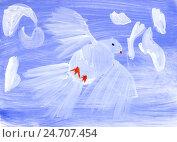 Белый голубь в синем небе. Детский рисунок гуашью. Стоковая иллюстрация, иллюстратор Юлия Франтова / Фотобанк Лори