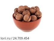 Купить «Грецкие орехи в коричневой миске, изолированно на белом фоне», фото № 24709454, снято 21 января 2016 г. (c) Литвяк Игорь / Фотобанк Лори