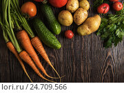 Купить «freshly grown raw vegetables», фото № 24709566, снято 17 июля 2016 г. (c) Jan Jack Russo Media / Фотобанк Лори
