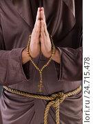 Купить «Monk in religious concept on gray background», фото № 24715478, снято 26 октября 2016 г. (c) Elnur / Фотобанк Лори