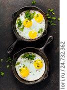 Купить «Pans with fried eggs and herbs», фото № 24732362, снято 16 декабря 2016 г. (c) Наталия Кленова / Фотобанк Лори
