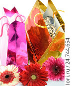 Праздничные подарочные пакеты и цветы. Стоковое фото, фотограф VIACHESLAV KRYLOV / Фотобанк Лори