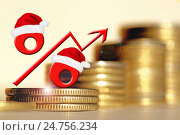 Купить «Красный знак процента на фоне денег», фото № 24756234, снято 24 апреля 2016 г. (c) Сергеев Валерий / Фотобанк Лори