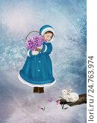 Девочка с подснежниками. Стоковая иллюстрация, иллюстратор Маргарита Нижарадзе / Фотобанк Лори