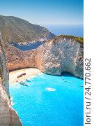 Купить «Navagio bay and Ship Wreck beach. Zante», фото № 24770662, снято 20 августа 2016 г. (c) EugeneSergeev / Фотобанк Лори