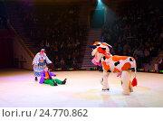 Купить «Выступление клоунской группы Московского цирка на льду во время гастрольного тура», фото № 24770862, снято 10 апреля 2015 г. (c) Ольга Коцюба / Фотобанк Лори