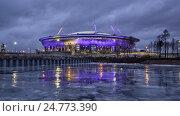 Новый стадион на Крестовском острове с праздничной подсветкой. Санкт-Петербург, фото № 24773390, снято 25 декабря 2016 г. (c) Юлия Бабкина / Фотобанк Лори