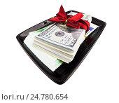 Купить «Пачки долларов и евро с подарочной лентой», фото № 24780654, снято 18 апреля 2019 г. (c) OSHI / Фотобанк Лори