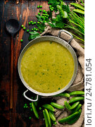 Купить «Tasty peas soup», фото № 24781054, снято 17 ноября 2016 г. (c) Наталия Кленова / Фотобанк Лори