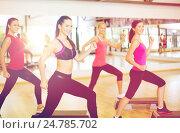 Купить «group of smiling people doing aerobics», фото № 24785702, снято 28 сентября 2013 г. (c) Syda Productions / Фотобанк Лори