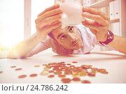 Купить «businessman with piggy bank and coins at office», фото № 24786242, снято 18 июня 2015 г. (c) Syda Productions / Фотобанк Лори