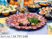 Купить «Нарезка с колбасой на празднично сервированном столе», эксклюзивное фото № 24791646, снято 24 декабря 2016 г. (c) Игорь Низов / Фотобанк Лори