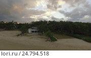 Купить «Aerial view of coast from water camera moving to coast, Mauritius Island», видеоролик № 24794518, снято 4 октября 2016 г. (c) Данил Руденко / Фотобанк Лори