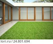 Внутренний двор с газоном, 3D-рендеринг, иллюстрация № 24801694 (c) Hemul / Фотобанк Лори