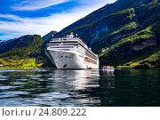 Купить «Cruise Liners On Geiranger fjord, Norway», фото № 24809222, снято 20 июля 2016 г. (c) Андрей Армягов / Фотобанк Лори
