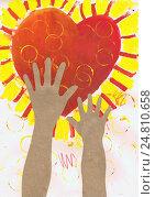 """Купить «Детский рисунок-аппликация """"Детские руки тянутся к сердцу"""" (бумага, картон, гуашь)», иллюстрация № 24810658 (c) Ирина Борсученко / Фотобанк Лори"""