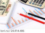 Купить «Графики, диаграммы, калькулятор и ручка. Бизнес-натюрморт», эксклюзивное фото № 24814486, снято 5 января 2017 г. (c) Юрий Морозов / Фотобанк Лори