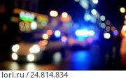 Купить «Полицейские машины на дороге с мигающими маячками», видеоролик № 24814834, снято 28 декабря 2016 г. (c) FMRU / Фотобанк Лори