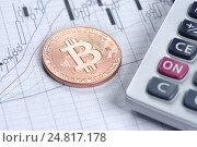 Монета Bitcoin. Стоковое фото, фотограф Александр Лычагин / Фотобанк Лори