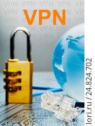 Купить «The concept of protection of internet connection via the VPN server», фото № 24824702, снято 6 января 2017 г. (c) Александр Якимов / Фотобанк Лори