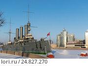 """Санкт-Петербург. Крейсер """"Аврора"""" на стоянке. (2017 год). Редакционное фото, фотограф Семёнов Марк / Фотобанк Лори"""