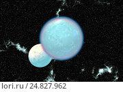 Fantasy alien planet. Moon. 3D rendering. Стоковая иллюстрация, иллюстратор Parmenov Pavel / Фотобанк Лори