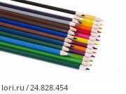 Купить «Цветные карандаши на белом фоне», фото № 24828454, снято 17 апреля 2016 г. (c) Елена Коромыслова / Фотобанк Лори