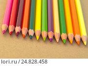 Купить «Цветные карандаши на листе для эскизов», фото № 24828458, снято 17 апреля 2016 г. (c) Елена Коромыслова / Фотобанк Лори