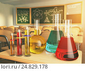 Купить «Laboratory glassware with formula on blackdesk in the school chemistry lab.», фото № 24829178, снято 21 октября 2018 г. (c) Maksym Yemelyanov / Фотобанк Лори
