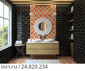 Купить «Interior modern bathroom 3D rendering», иллюстрация № 24829234 (c) Hemul / Фотобанк Лори