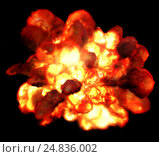 Купить «Explosion fire isolated on black background. Detonation bomb as game.», фото № 24836002, снято 11 декабря 2018 г. (c) Gennadiy Poznyakov / Фотобанк Лори