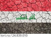 Купить «Изображение флага Ирака на потрескавшейся сухой земле», фото № 24839010, снято 5 августа 2014 г. (c) Игорь Долгов / Фотобанк Лори
