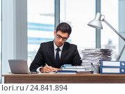 Купить «Young businessman working in the office», фото № 24841894, снято 28 июня 2016 г. (c) Elnur / Фотобанк Лори