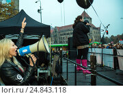 Pozna_, Poland, black protest against the exaggeration of abortion law (2016 год). Редакционное фото, агентство Caro Photoagency / Фотобанк Лори
