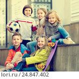 Купить «Group of children portrait with ball and skateboard», фото № 24847402, снято 22 сентября 2018 г. (c) Яков Филимонов / Фотобанк Лори