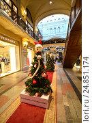 """Купить «Новогодняя елка-модница от монобрендового бутика """"Ermanno Scervino"""" в легендарном ГУМе в Москве», эксклюзивное фото № 24851174, снято 8 января 2017 г. (c) lana1501 / Фотобанк Лори"""