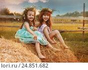 Купить «Две маленькие девочки сидят на стогу сена», фото № 24851682, снято 9 июня 2015 г. (c) Марина Володько / Фотобанк Лори