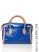 Женская, ручная, синяя сумка на белом фоне. Стоковое фото, фотограф Харкин Вячеслав / Фотобанк Лори