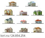 Image of a private house. vector flat illustration. Стоковая иллюстрация, иллюстратор Алексей Плескач / Фотобанк Лори