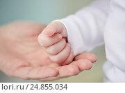 Купить «close up of mother and newborn baby hands», фото № 24855034, снято 23 ноября 2016 г. (c) Syda Productions / Фотобанк Лори