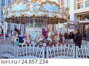 Купить «Детская карусель на Манежной площади. Москва.», фото № 24857234, снято 11 января 2017 г. (c) Татьяна Белова / Фотобанк Лори