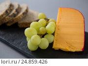 Купить «Gouda cheese and grapes on slate plate», фото № 24859426, снято 16 сентября 2016 г. (c) Wavebreak Media / Фотобанк Лори