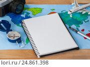 Купить «Holiday and tourism conceptual image with travel accessories», фото № 24861398, снято 16 августа 2016 г. (c) Wavebreak Media / Фотобанк Лори
