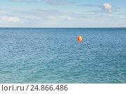 Купить «Calm Black Sea with an orange buoy», фото № 24866486, снято 24 сентября 2013 г. (c) Ольга Визави / Фотобанк Лори