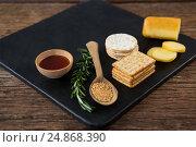 Купить «Cheese, crackers, nacho chips and rosemary herbs on slate plate», фото № 24868390, снято 16 сентября 2016 г. (c) Wavebreak Media / Фотобанк Лори