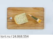 Купить «Slice of dutch gouda cheese on chopping board», фото № 24868554, снято 16 сентября 2016 г. (c) Wavebreak Media / Фотобанк Лори