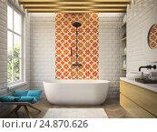 Купить «Interior modern bathroom 3D rendering», иллюстрация № 24870626 (c) Hemul / Фотобанк Лори