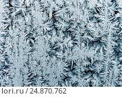 Купить «Замысловатый морозный узор на зимнем стекле», фото № 24870762, снято 7 января 2017 г. (c) Бачкова Наталья / Фотобанк Лори