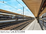 Купить «PARIS, FRANCE - JULY 09, 2016 : High speed train at the North Railways station(Gare de Nord). Speed train is comfortable, speed and most convenience in France.», фото № 24873094, снято 9 июля 2016 г. (c) Vitas / Фотобанк Лори